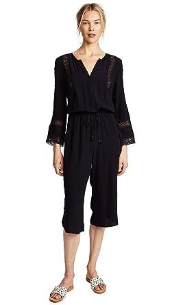 ca0d86c1fc Amazon.com: Ella Moss Women's Lace Inset Romper, Black M: Clothing