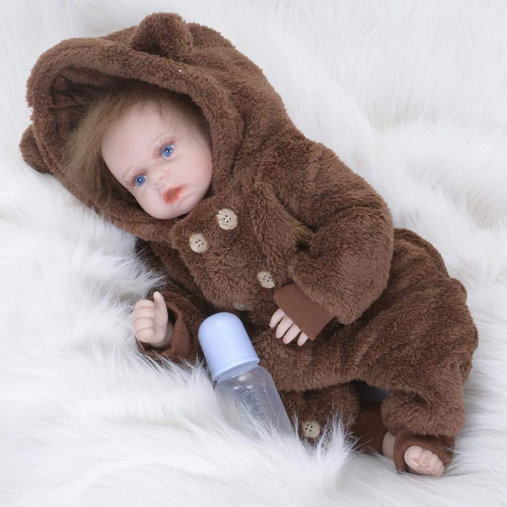 Hongge Reborn Baby Doll,Lebensechte Weichen Gel Reborn Puppe Spielzeug Sieht echte Neugeborene Puppe Weihnachten Geburtstag 55cm