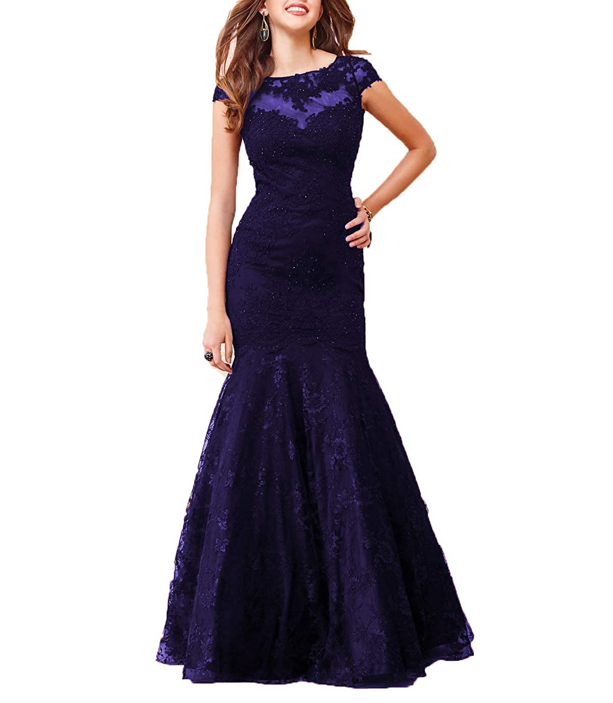 bluee Wanshaqin Cap Sleeve Lace Mermaid Prom Formal Dresses Evening Cocktail Dress Bridesmaid Gowns for Events Party