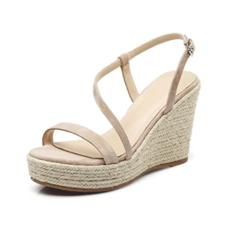 830820da557 Elegant Wedge Shoes Hand-woven Thick-bottomed High-heeled Sandals Sexy Open- toed Women Shoes 10cm ( Color   Beige