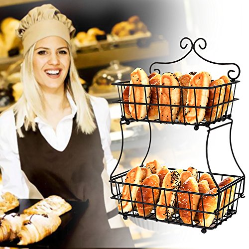 Oakome 2 Tier Fruit Baskets - Metal Bread Basket Stand with Free Screws for Fruit, Vegetables, Snacks, Home Kitchen and Office by oakome (Image #5)