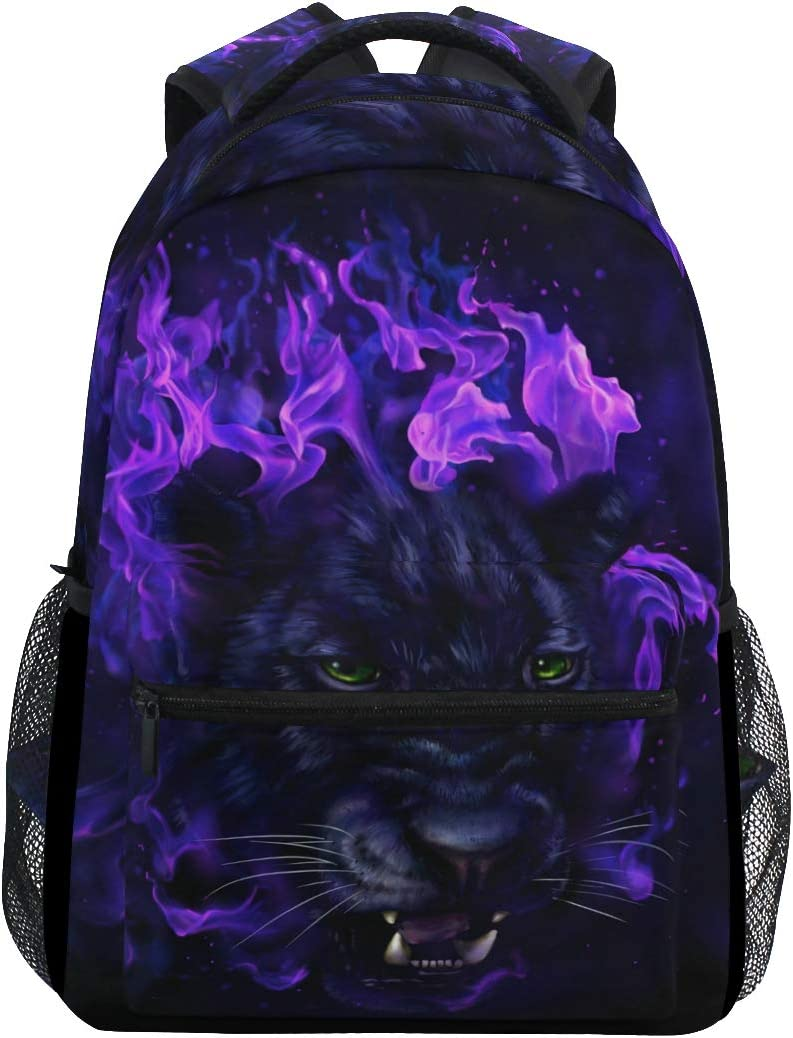 Panther Head In Flames Backpack School Bag Travel Daypack Rucksack for Boys