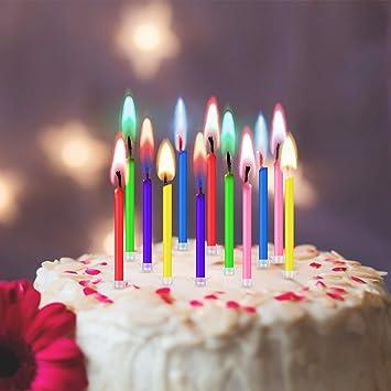 Amazon.com: 36 velas de cumpleaños para tarta con llamas de ...