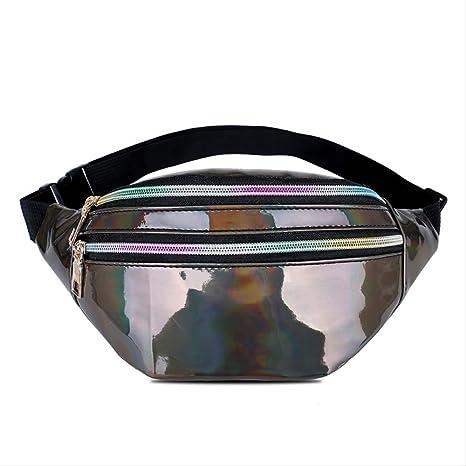 Bolsos de Cintura holográficos Mujeres Pink Silver Fanny Pack Cinturón Femenino Bolso Negro Cintura geométrica Paquetes Láser Estuche para teléfono 4087brown: Amazon.es: Equipaje