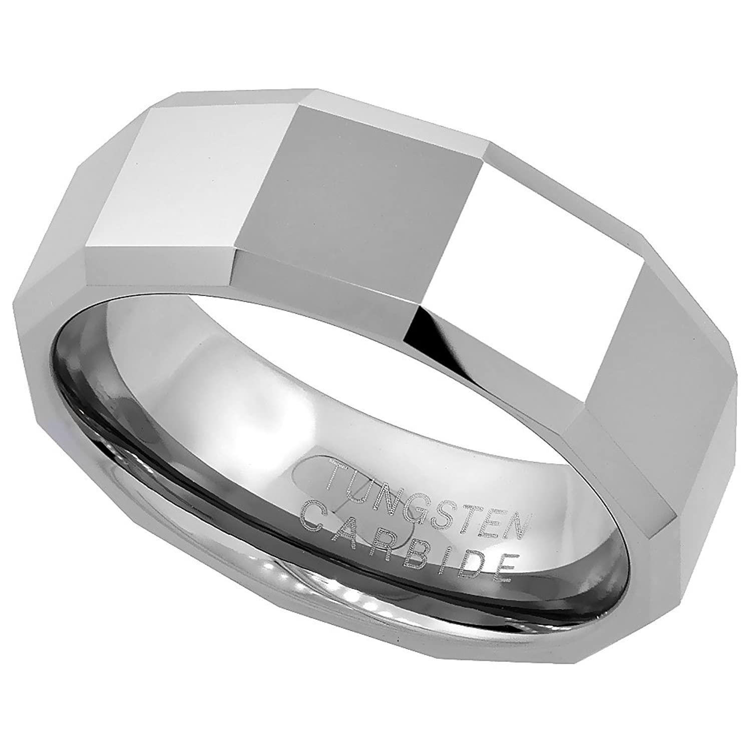 Tungsten Wedding Faceted Patterns Beveled Image 1