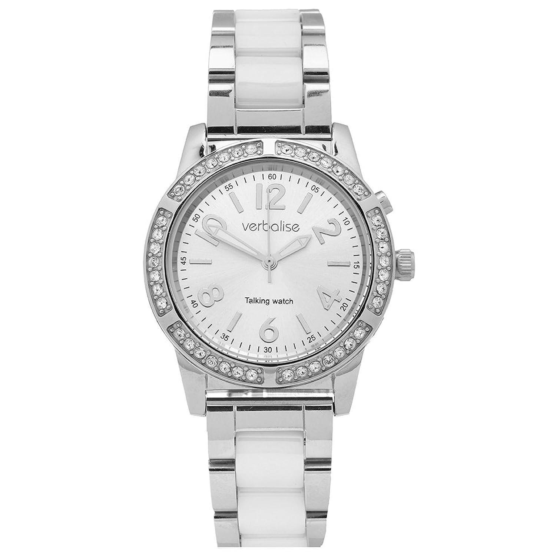 Verbalise Damen Silber Sprechende Armbanduhr mit Swarovski-Kristallen