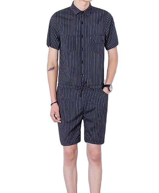 6960e94962e neveraway Men s Striped Leisure Bodysuit Blazer Short Pants Slim Fitted Rompers  Black S