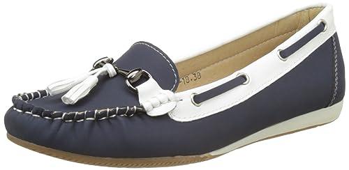 Confort Zapatos Mocasines Mujer Azul pequeña cuña - 36: Amazon.es: Zapatos y complementos
