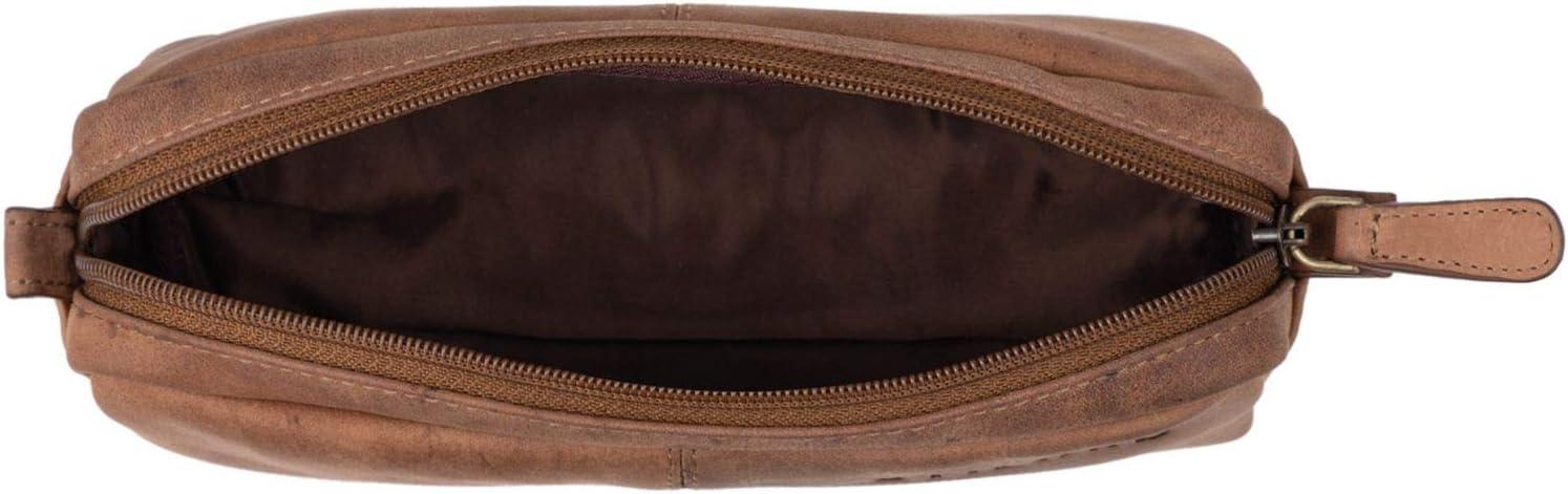 Couleur:Bordeaux STILORD Spencer Trousse Scolaire Cuir Trousse de Maquillage Pochette /Étui pour Crayons Cuir V/éritable Vintage Marron