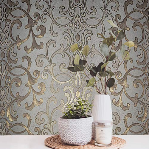 (113.52 sq.ft rolls PASTE THE WALL ONLY Embossed modern Slavyanski wallcoverings victorian damask pattern Vinyl Non-Woven Wallpaper gray silver gold bronze metallic textured stripes wall coverings 3D )