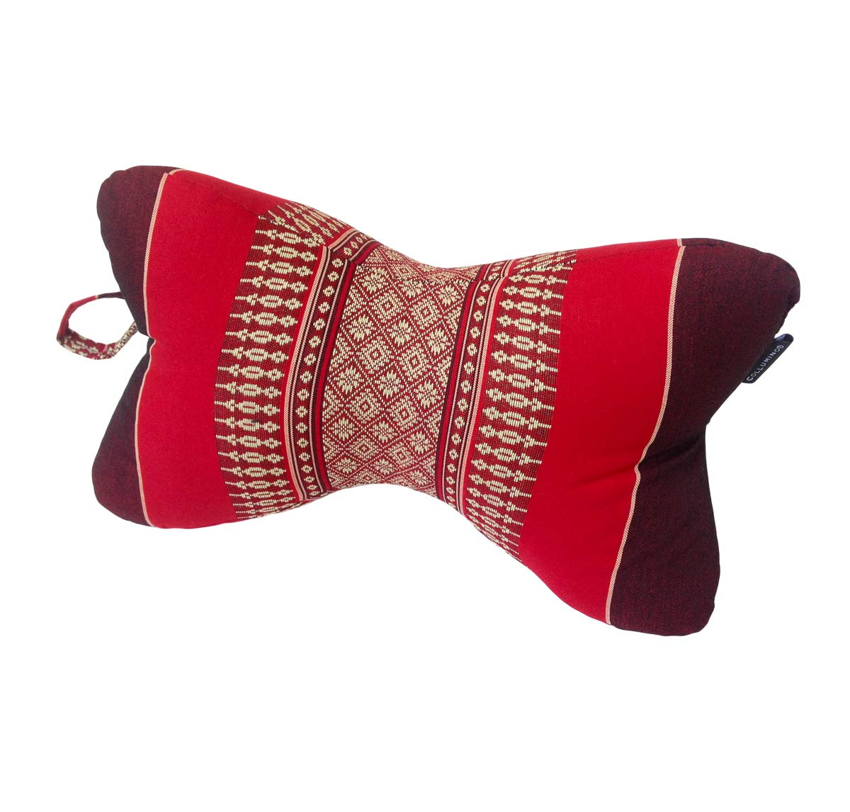 Collumino Traditionnel tha/ï kapok Support de Cou doreiller de Massage pour Le Yoga ou de Relaxation Rouge, Bordeaux