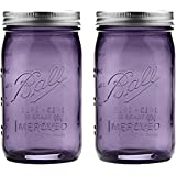 Ball Jar with Lid and Band - Pick Your Size and Color (Purple, Regular Mouth Pint - 16 oz.) (Pack Of 2)