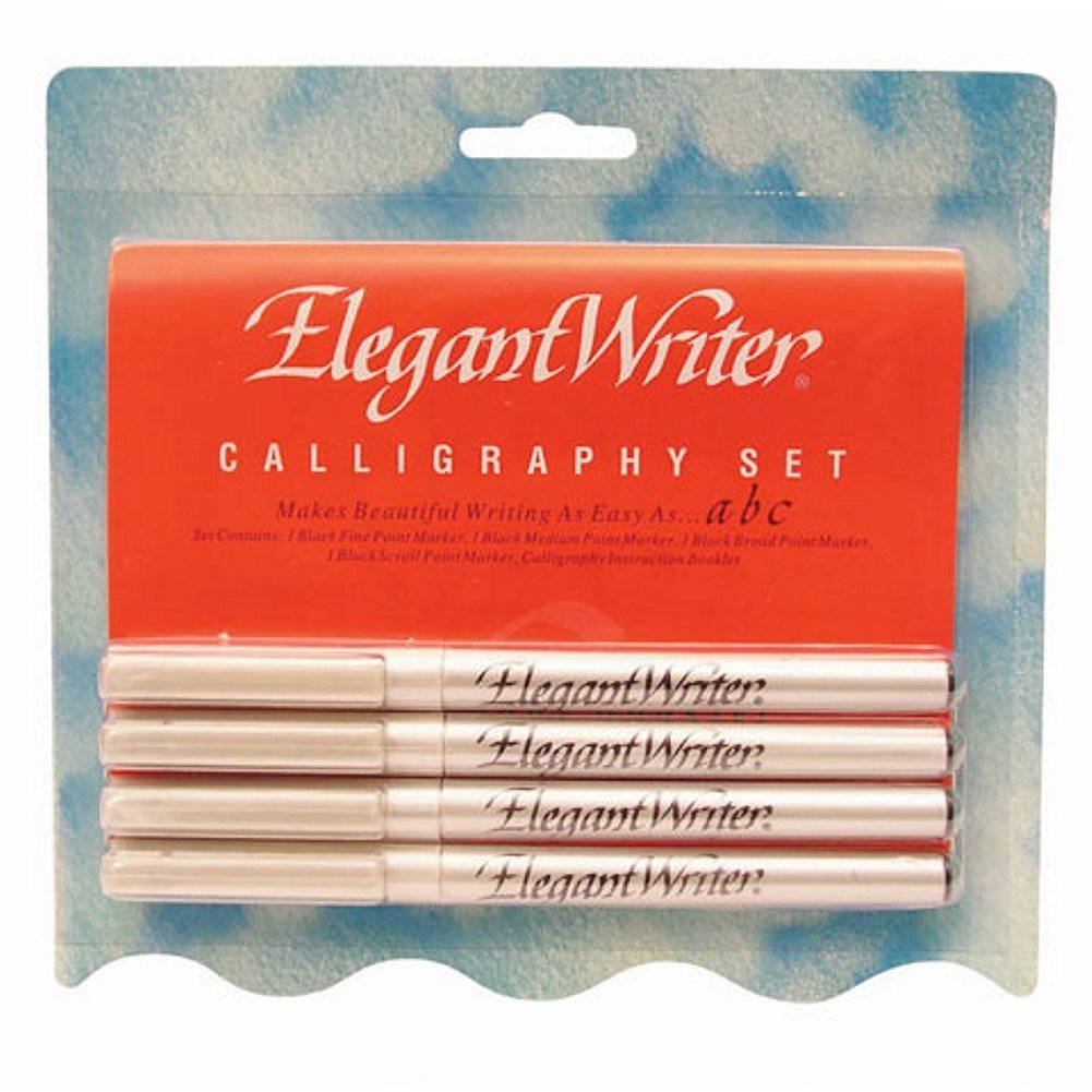Elegant Writer Calligraphy Kit - 4 Black Calligraphy Pens with Instructions