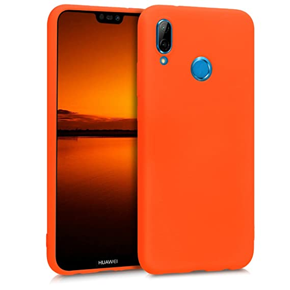 kwmobile TPU Silicone Case for Huawei P20 Lite - Soft Flexible Shock Absorbent Protective Phone Cover - Neon Orange