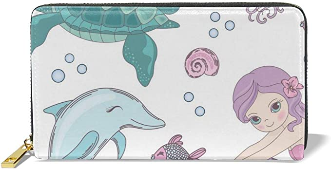 Womens Zip Around Wallet and Phone Clutch,Undersea Dolphin Print,Travel Purse Leather Clutch Bag Card Holder Organizer Wristlets Wallets