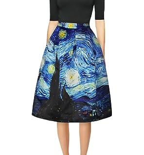 cf5adf1ee7f443 Damen Rock Elegant Classic Unikat Sommer Tailliert Mode Mit Floralem Print A-Linie  Knielang Röcke