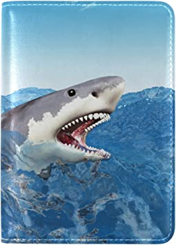 White Shark Leather Passport Cover Travel Passport Holder Cover Case