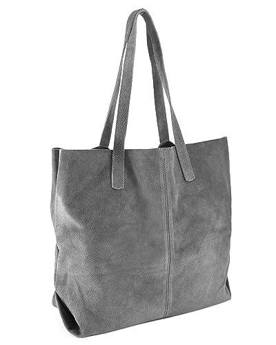 069b59576365d ImiLoa Ledertasche Shopper Tasche XXL Leder grau Wildleder groß Handtaschen  Beuteltasche Lederhandtasche Damen 32-gry