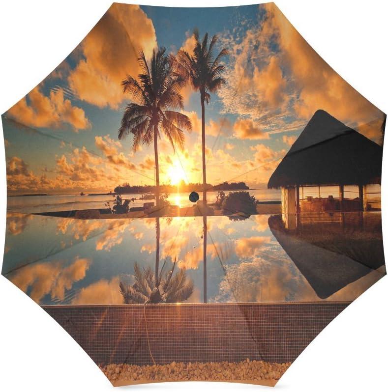 Custom Tropical Sunrise scenery Compact Travel Windproof Rainproof Foldable Umbrella