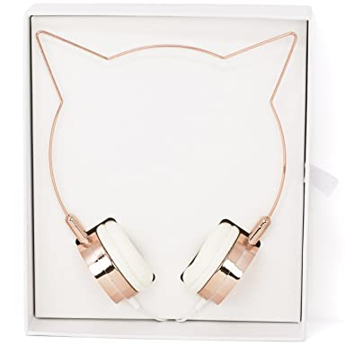 Lux Accessories Rose Gold Cat Ear Headphones Wire Frame Headset w Microphone 66eqRbhim