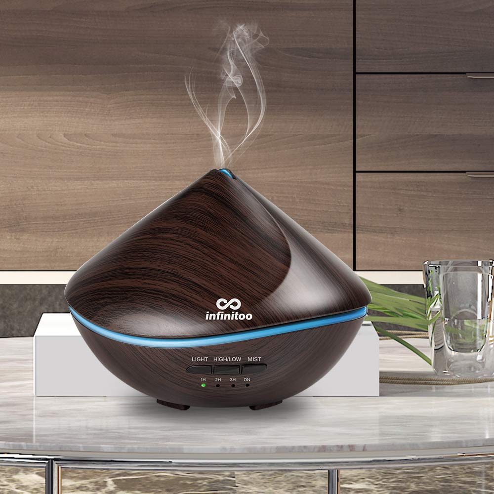 Essential Oil Diffuser infinitoo 2020 New Sand Dune Design 500ml Diffuser Aroma Ultrasound Humidifier Kids Automatic Off Aroma Diffuser with 4 Time Mode and 7 Colors for Room, Yoga, SPA, Office