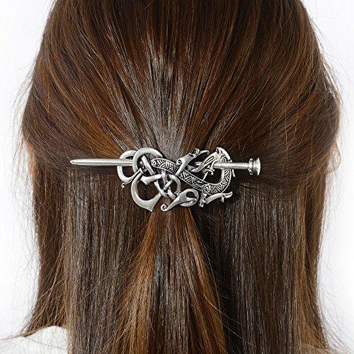 Viking Dragon Hair Barrettes Hairpins- Norse Celtic Knot Hair Accessories Hair Slide Long Hair Pin Hair Sticks Irish Hair Decor for Long Hair Jewelry Braids Hair Clip With Stick