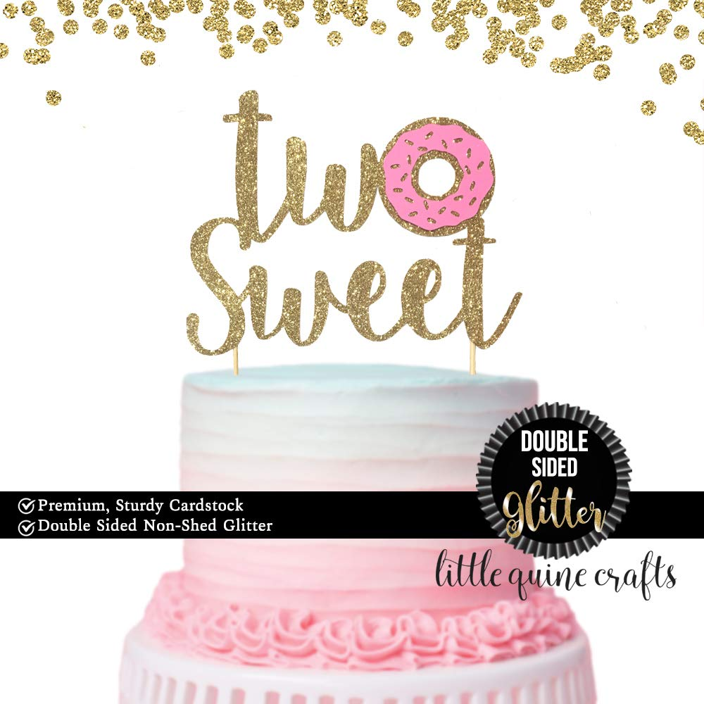 1 pc Two Sweet Donut DOUBLE SIDED Gold Glitter Cake Topper for Second Birthday Baby Toddler girl boy summer Party donut grow up theme 61onqT5qRXL