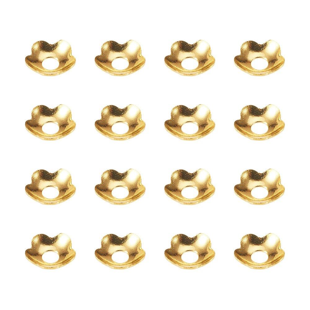 10g// sacchetto PandaHall Elite Ciondoli Ottone Ciondoli Fiore 5 Petali Perline Fiore Ciondoli per Bracciali Collene 4mm di Diametro Colore Argento