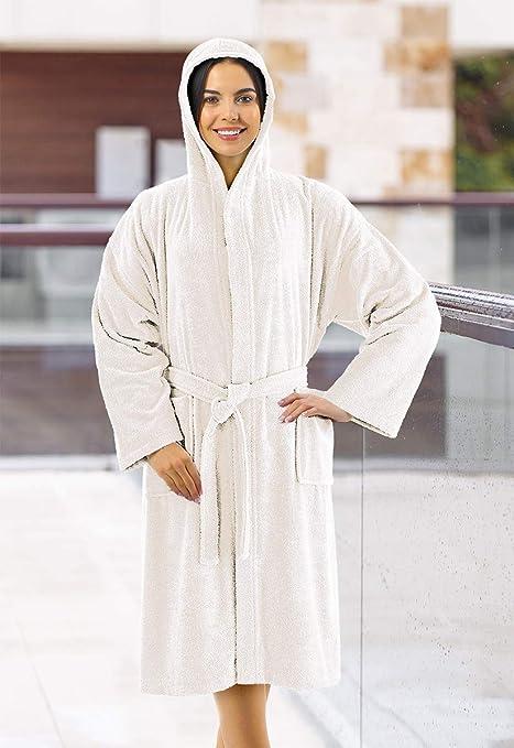 Banzaii Albornoz 100% Algodón con Capucha - Albornoz para Hombre y Mujer - Talla L Crema: Amazon.es: Hogar