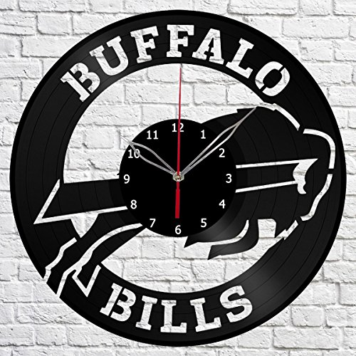 Vinyl Clock Buffalo Bills Vinyl Record Wall Clock Fan Art Handmade Decor Original Gift Unique Decorative Black 12