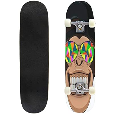 Classic Concave Skateboard Vectorial Illustration Funny Monkey with Glasses Longboard Maple Deck Extreme Sports and Outdoors Double Kick Trick for Beginners and Professionals : Sports & Outdoors