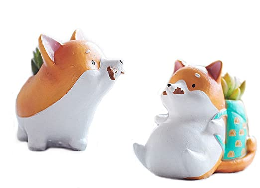 2pcs Cute con forma de perro Cartoon Decoración del hogar jarrón ...