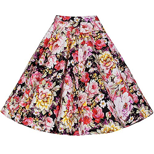 Casual Jupes Dots Party Rockabilly 50 rtro Floral Femmes annes Vintage Polka des Swing PxS4qz