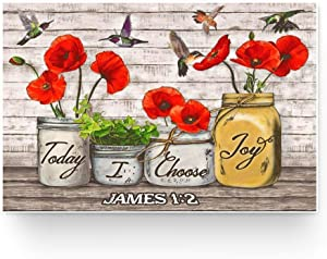 Cardinal Birds With Red Poppies Flower Today I Choose Joy James 1 2 Poster Gift for Women, On Birthday Xmas, Art Print Size 11