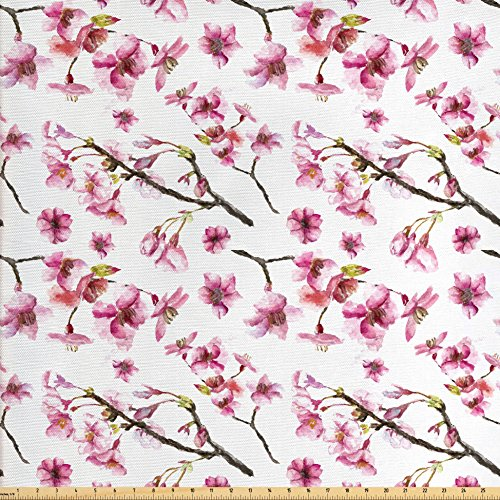 Ambesonne Cherry Blossom Fabric by the Yard, Artistic Watercolor Style Oriental Pattern with Sakura Branch, Decorative Fabric for Upholstery and Home Accents, Hot Pink Green Brown