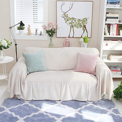 Amazing Solid Color Plush Sofa Cover, 1 Piece Anti Slip Sofa Slipcover Furniture  Protector