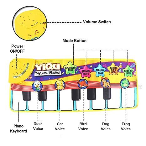 Tapete para piano, juguete con tapete para niños, tapete de baile para niños de 3 a 36 meses de regalo para bebés y niños pequeños (amarillo): Amazon.es: ...