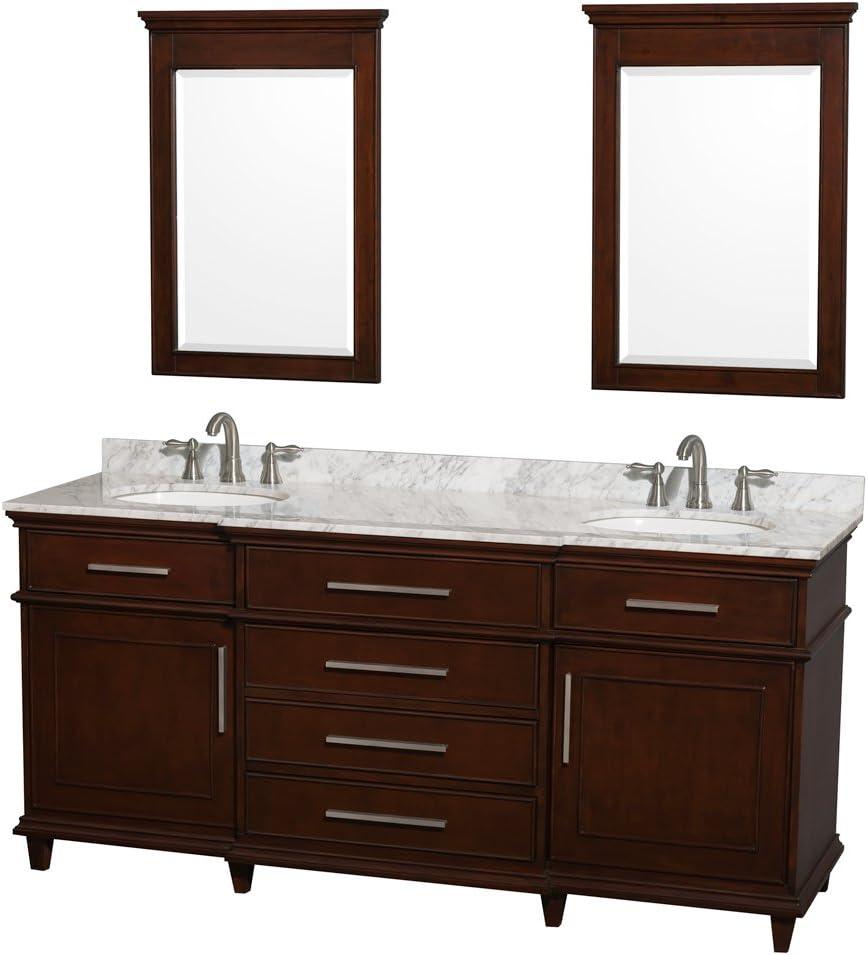 No Mirror Wyndham Collection Berkeley 72 inch Double Bathroom Vanity in Dark Chestnut with No Countertop No Sinks