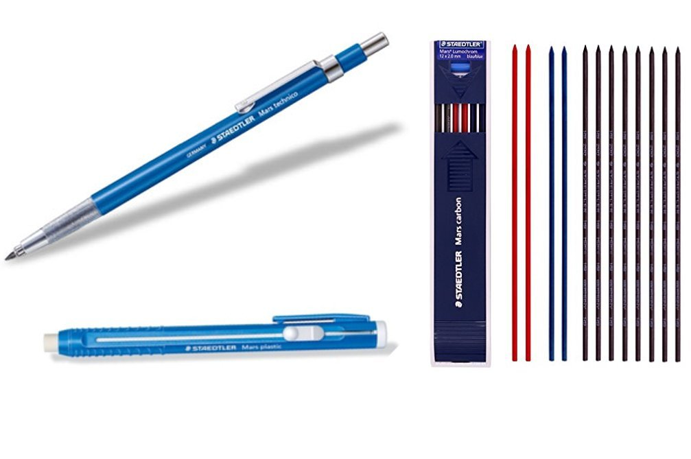 Staedtler Mars Techno Mechanical Technical Pencil Writing Supplies Set Composed by Withjenny - Lead Holder(780C), Stick Eraser(52850) & Lead 2mm HB 1 Dozen Mix Color (8 Black + 2 red + 2 Blue)