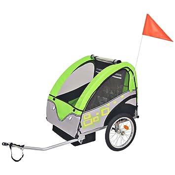 vidaXL Remolque de Bicicleta para Niños Gris y Verde 30 kg Carrito para Bici