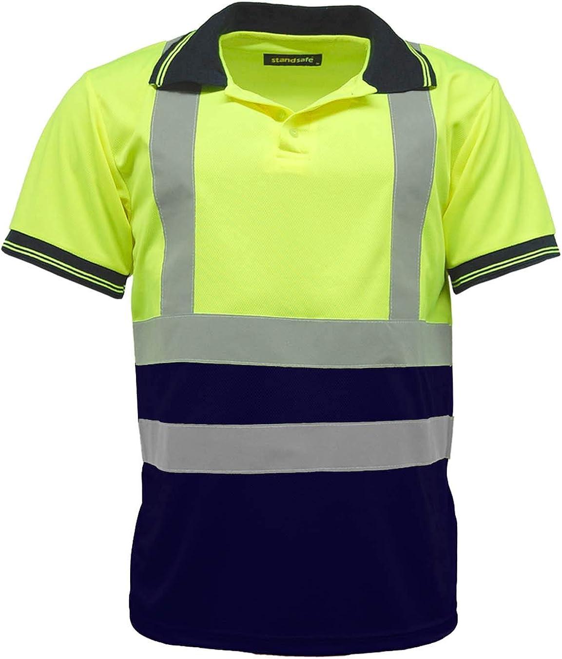 HV004 High Vis Visibility Short Sleeve Polo T Shirt EN471