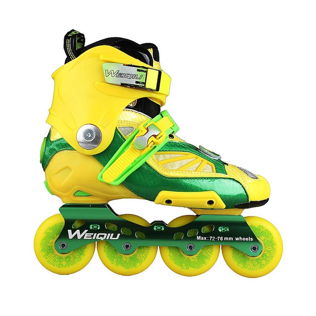 Ailj 屋外の屋内職業フィットネスローラーブレード男性ユニセックスイエローグリーンインラインスケート女性 (Color : 黄, Size : 39 EU/7 US/6 UK/24.5cm JP) 黄 39 EU/7 US/6 UK/24.5cm JP