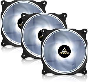 Antec 120mm RGB LED Case Fan, White LED Case Fan, High Performance PC Fan, 4-pin Molex Connector, F12 Series 3 Packs