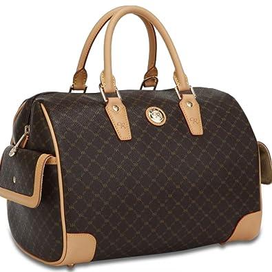 7d88b089584b Rioni Brown Signature Large Canvas Bowler Boston Bag Handbag w  Leather  Trim  Handbags  Amazon.com