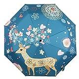 Molshine Sun&Rain Umbrella,Lightweight UV Protection Outdoor Umbrella for Women,Gift Choice(deer& love)