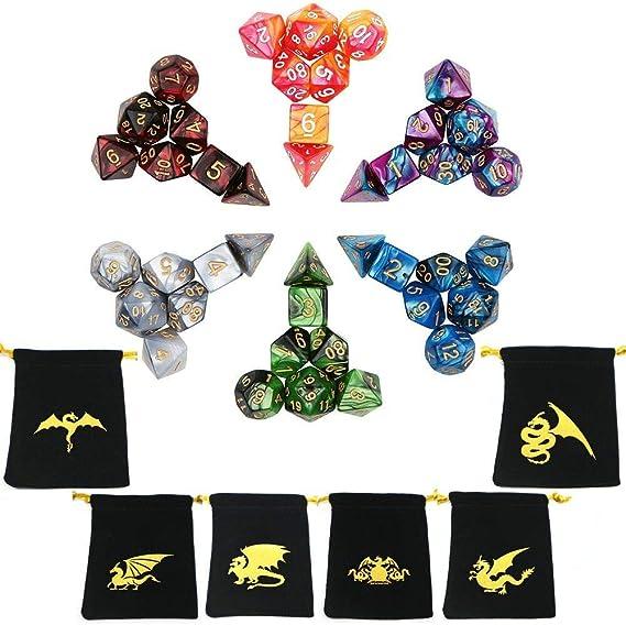 Ecidice Polyedrische Würfel Doppelfarben Tisch Spiel Würfel Für Dungeons And Dragons Mtg Rpg Dnd D4 D6 D8 D10 D12 D20 42 Stück Amazon De Spielzeug