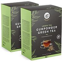 Marca Amazon - Happy Belly Select - Hojas selectas de té verde Gunpowder, Hojas de té sueltas, 2x200 g