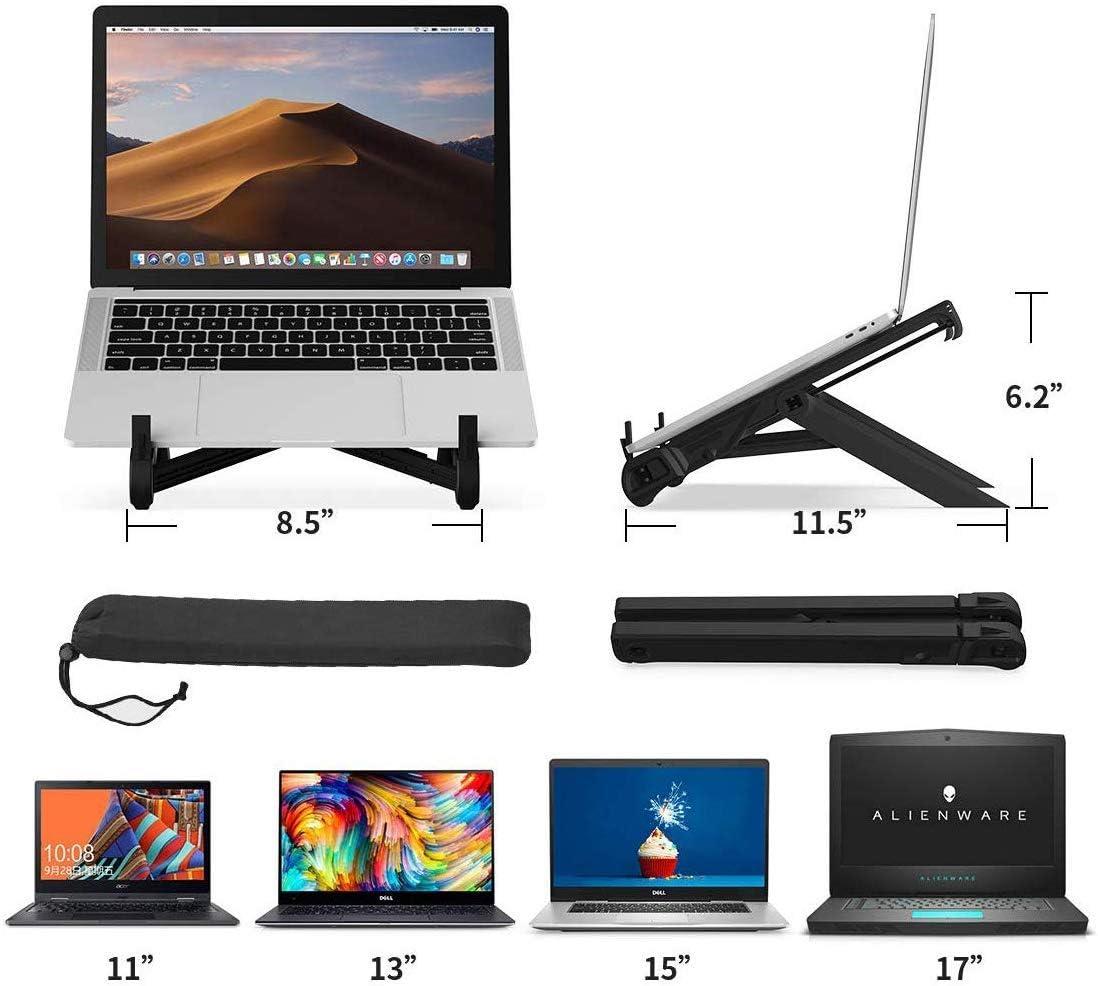 Yusi Support pour ordinateur portable pour bureau, réglable, pliable, portable, ventilé, léger et antidérapant, plateau ergonomique universel pour MacBook, ordinateur portable, tablette, noir