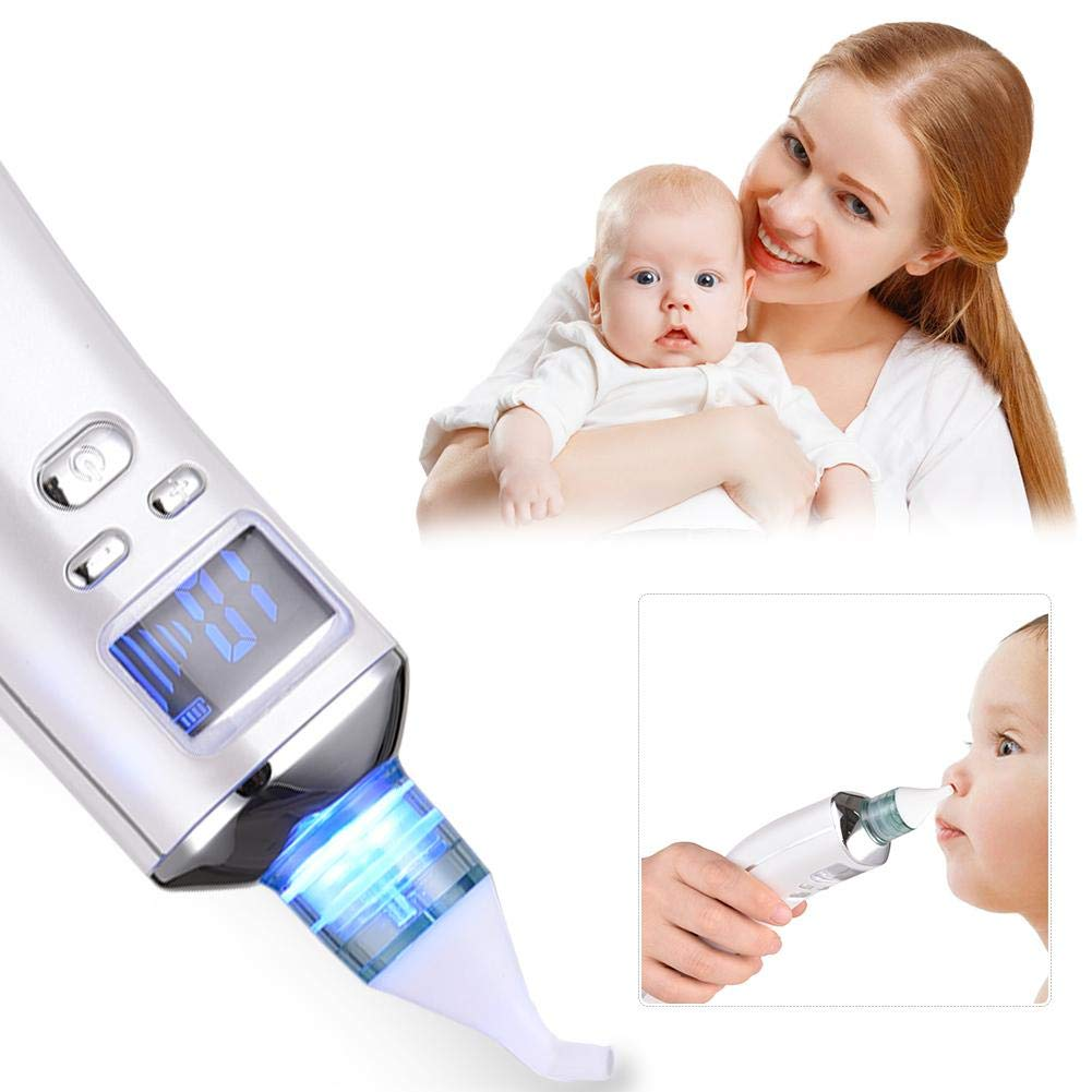 Beimaiji Trade Baby Nasal Aspirator, Electric USB Rechargeable Nose Snot Sucker Vacuum Cleaner,Newborn Nasal Congestion Nasal Suction Device Safe Hygienic 中性