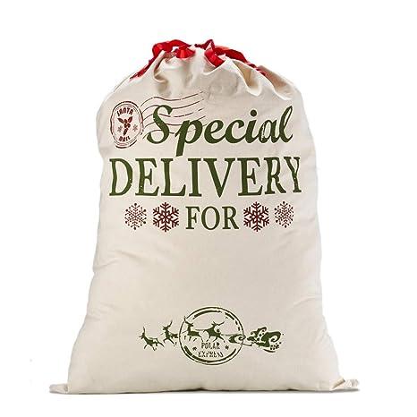 Skyocean Navidad Regalo Bolsas Santa Sacos Personalizadas con Cordón Rojo, Extra Grande 39.4